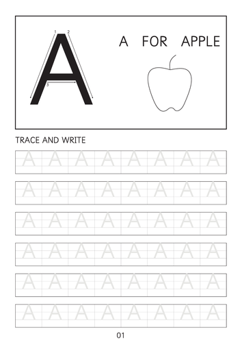 set of simple capital letters a to z line worksheets sheets with pictures by hawopatel. Black Bedroom Furniture Sets. Home Design Ideas