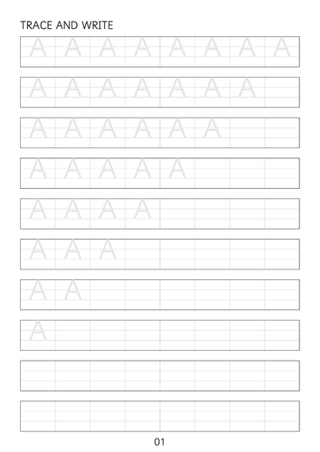 Set of simple capital letters A to Z line worksheets sheets