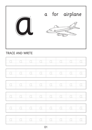 Set of simple small letters a-a to z-z line worksheets with pictures
