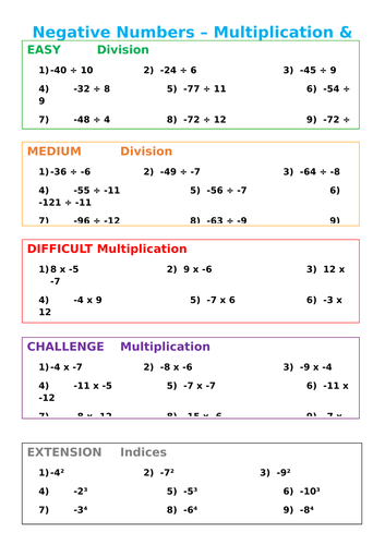 Negative Numbers with Multiplication & Division - Differentiated by ...