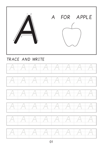 Set of cursive letter A-a to Z-z line worksheets with pictures