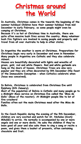Christmas Around The World Worksheets.Christmas Around The World Reading Comprehension