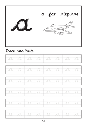 Set of cursive small letters a to z line worksheets sheets with pictures