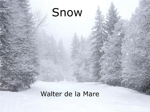 WINTER COMPREHENSION. CHRISTMAS LESSON IDEA. CLASSIC POEM. SNOW WALTER DE LA MARE WITH ANSWERS