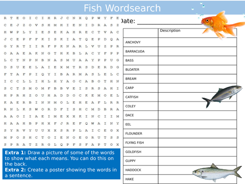 Fish Wordsearch Animals Nature The Sea Starter Settler Activity Homework Cover Lesson
