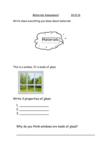 Year 2 materials assessment