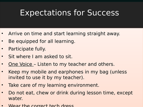 Expectations for success