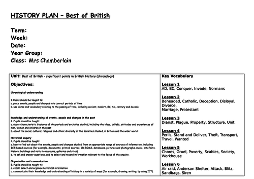 History Planning - Best of British Unit of Work (6 lesson - 3 way differentiation)