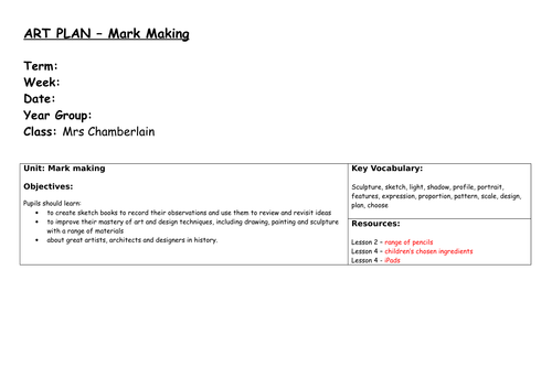 Art Mark Making Unit of Work (5 lessons - 3 way differentiation)