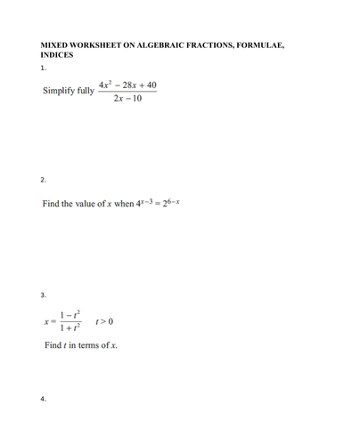 mixed worksheet on algebraic fractions indices formulae for edxcel  mixed worksheet on algebraic fractions indices formulae for edxcel igcse  maths b by shammukunhu  teaching resources  tes