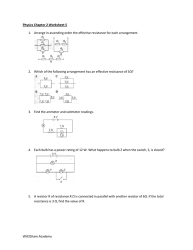 Ohm S Law Application In Parallel And Series Circuits With Bonus Material Resistance Worksheets