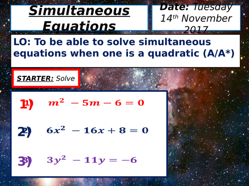 KS4 Solving Simultaneous Equations (with a Quadratic / Circle) Lesson
