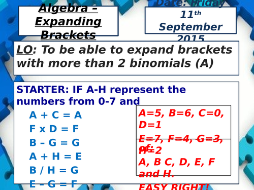 KS4 Expanding Brackets (Double & Triple) / Pascals Triangle Intro