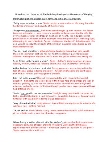 An Inspector Calls - Sheila Birling - Lesson 1