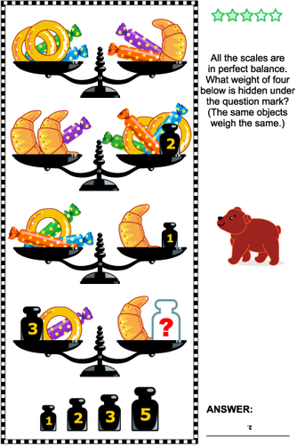 Math Puzzle with Scales, Weights, Baked Goods and Candies
