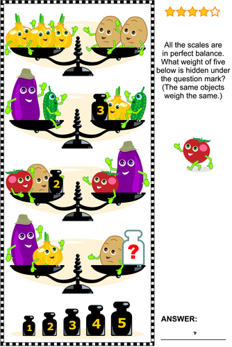 Math Puzzle with Scales, Weights, Eggplants, Onions, Potatoes, Cucumbers and Tomatoes