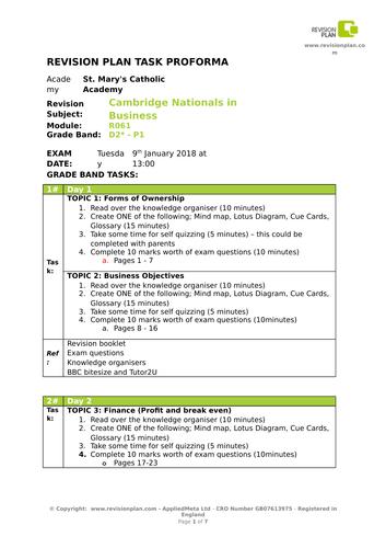 Cambridge National Jan 2018 revision plan