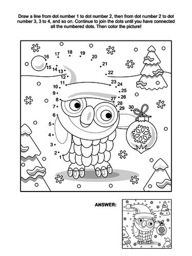 Dot-to-Dot and Coloring Page – Owl with Ornament