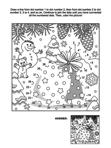 Dot-to-Dot and Coloring Page – Santa's Sack