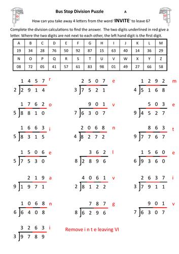 Bus Stop Division Puzzle