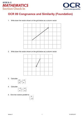 OCR Maths: Foundation GCSE - Section Check In Test 9