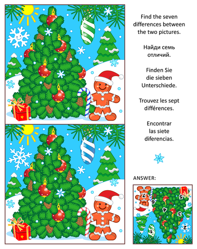 12 Find the Differences Visual Puzzles – Winter, Christmas, New Year