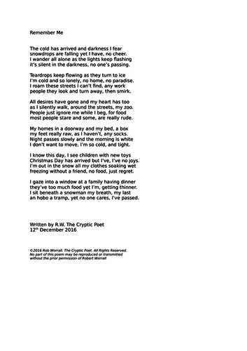A poem about those forgotten at Christmas by madpoet | Teaching