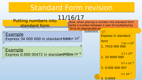 Standard Form Revision By Sjcooper Teaching Resources Tes