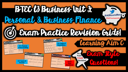 BTEC L3 Business: Unit 3 - Learning Aims C, D, E & F (Business Finance) Exam Revision Grid Sheets!