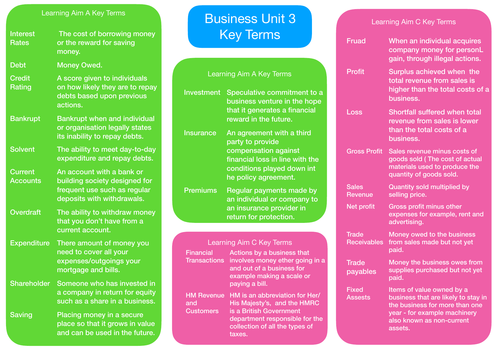 BTEC Level 3 Business Unit 3 Personal and Business Finance Exam Key Terms