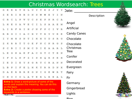 Christmas Trees Wordsearch End Of Term Quiz Starter Settler Activity
