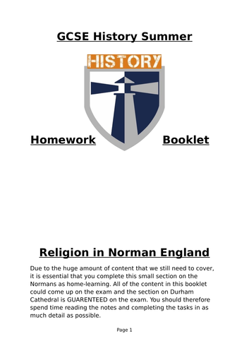 Norman Church Activity Booklet