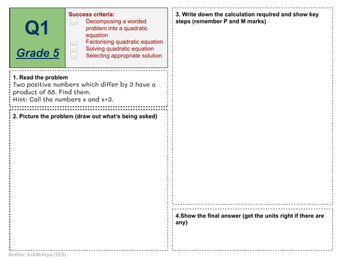 Solving Quadratic Equations - Worded  problems worksheet with grades