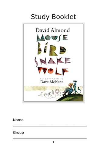 MOUSE BIRD SNAKE WOLF – [Almond & McKean] Graphic Novel STUDY BOOKLET & RESOURCES