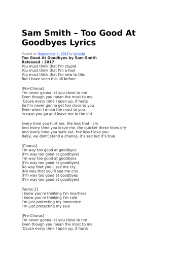 sam smith too good at goodbyes lyrics and video by alfiegalley123 teaching resources tes. Black Bedroom Furniture Sets. Home Design Ideas