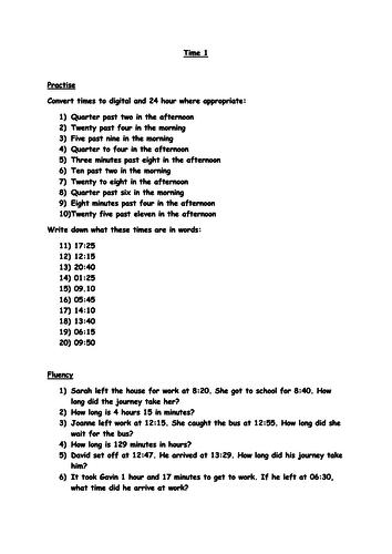 Year 6 Time Worksheet