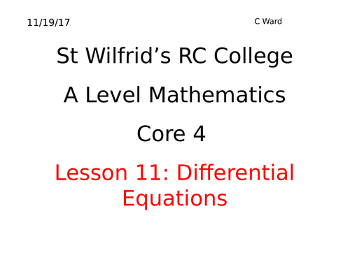 DIFFERENTIAL EQUATIONS LESSON 1