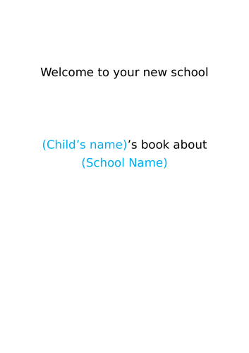 On Entry Starting School Booklet for EYFS FS2 Reception