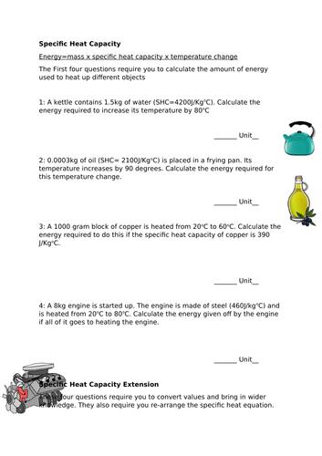 Specific heat capacity worksheet   Teaching Resources