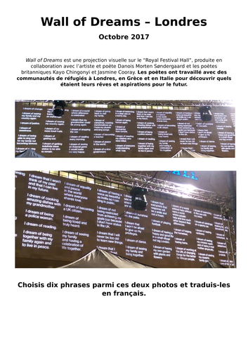Wall of dreams - Translations into French