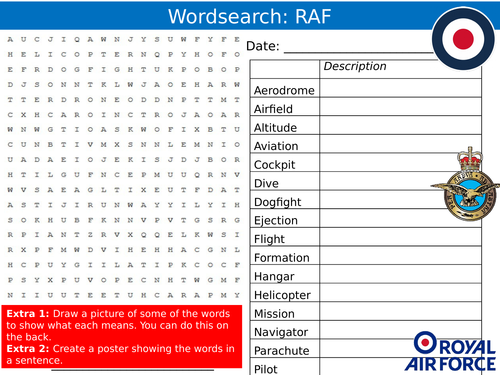 Royal Air Force RAF Wordsearch Careers Jobs Starter Settler Activity Homework Cover Lesson