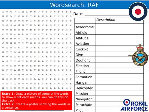 Royal Air Force RAF Wordsearch Careers Jobs Starter Settler Activity  Homework Cover Lesson
