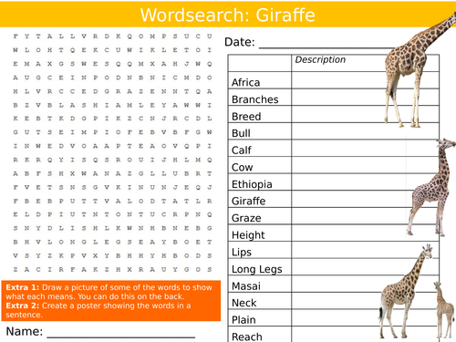 Animal Giraffe Wordsearch Nature Starter Settler Activity Homework Cover Lesson