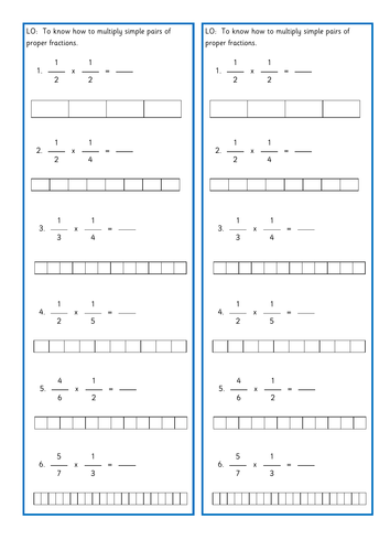 Multiplying fractions by fractions differentiated tasks