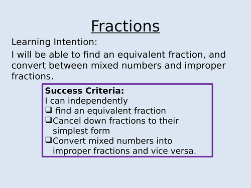 Fractions: equivalent, improper, mixed by pmyakj - Teaching ...