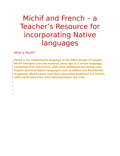 Michif and French Teaching Resources