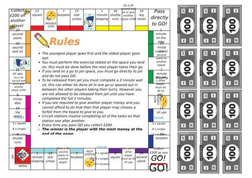 Fitness Monopoly Board