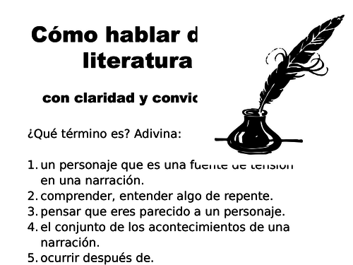 Vocabulario literario for Spanish A2 literature module