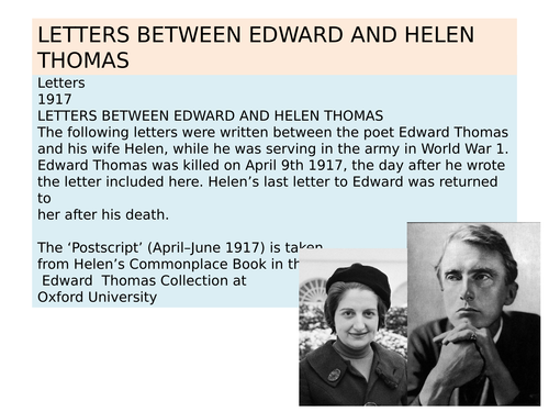 OCR EMC Anthology Letters between Edward and Helen Thomas 1917
