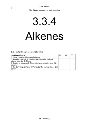 Alkenes 3.3.4 A Level AQA - part 1